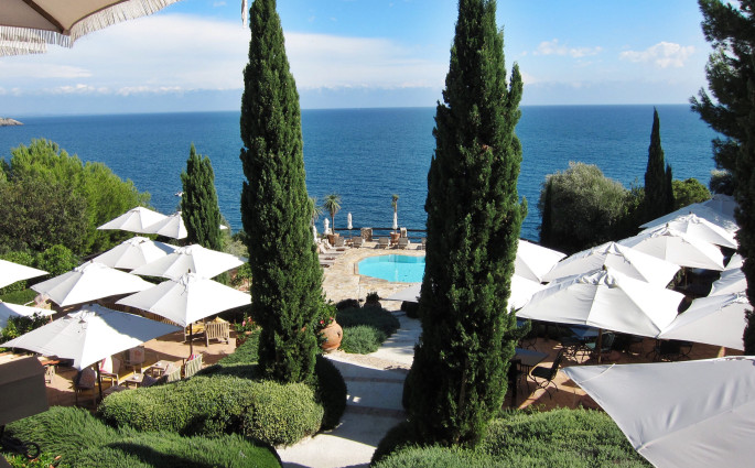 Il Pellicano terrace view trees