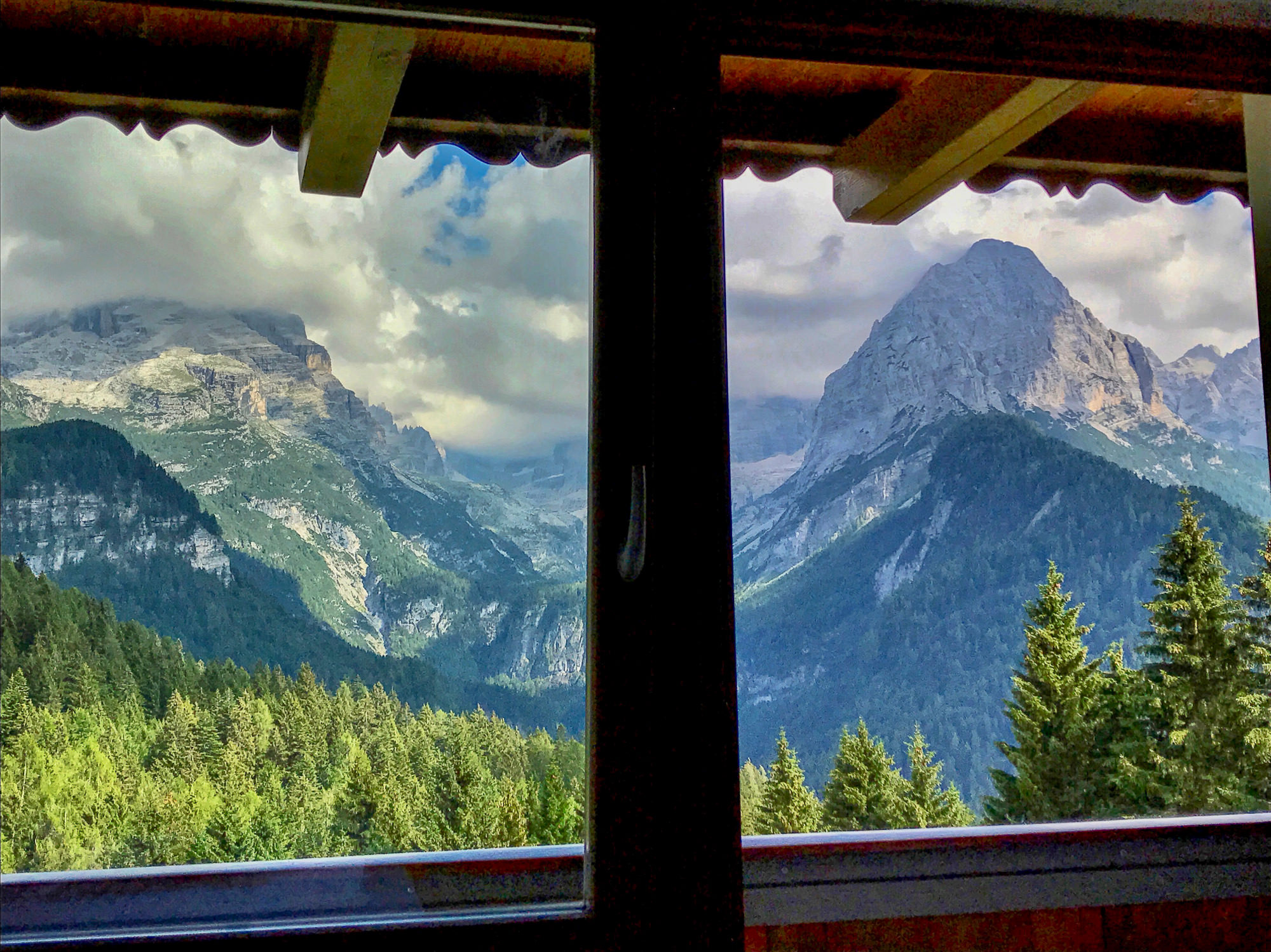 Room view from luxury hotel BioHotel Hermitage Madonna di Compiglio