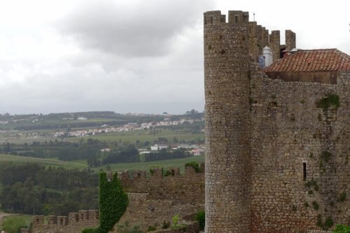 Obidos castle hilltop view