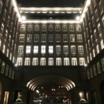 Chilehaus courtyard at night