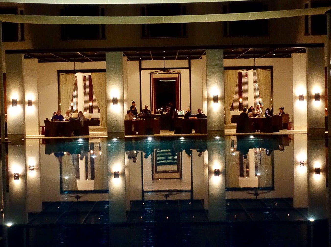 The Chedi lighting at night.