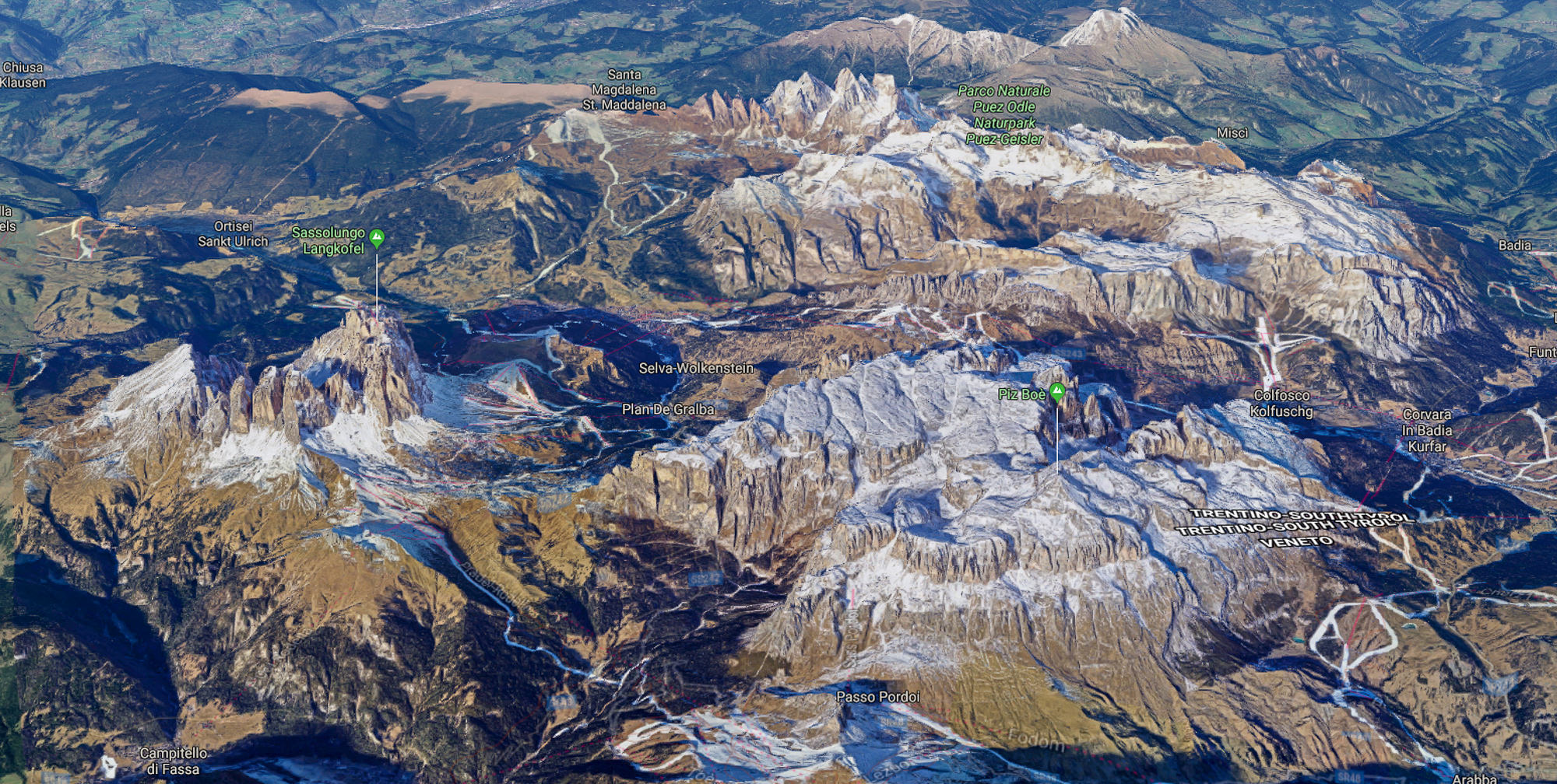 Val Gardena from the air