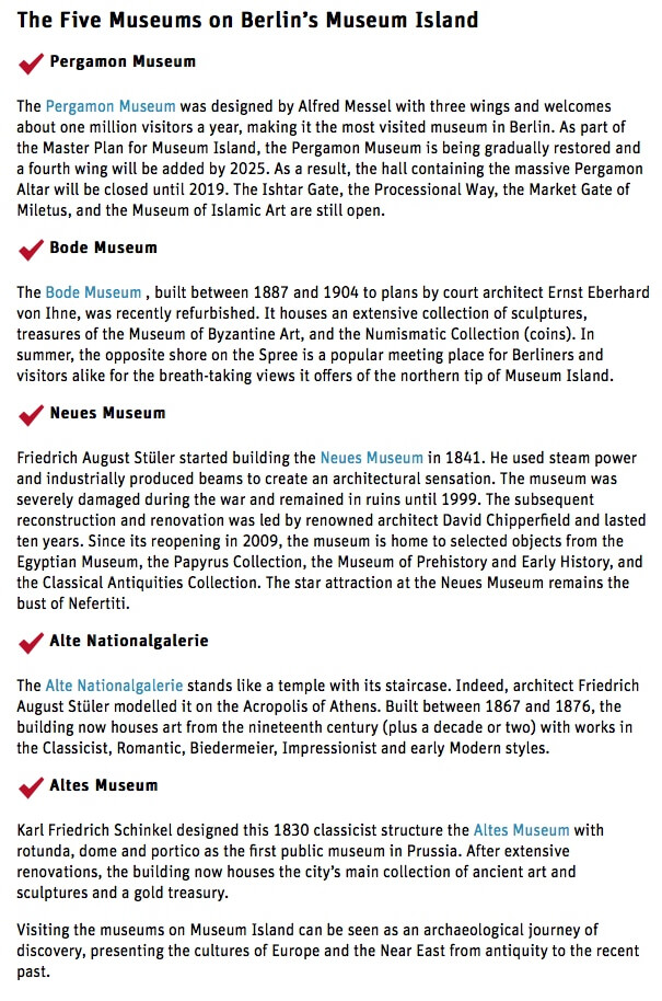 Museum Island museum listings