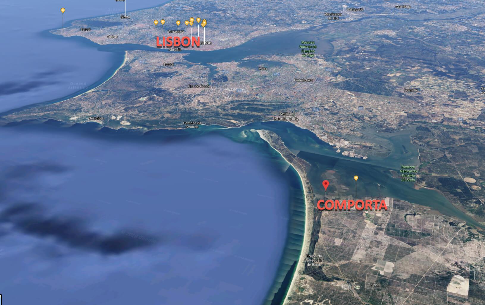 Comporta location on map