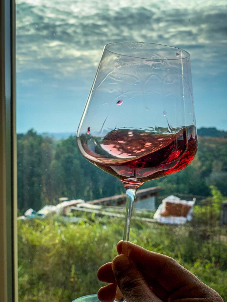 Simone Scaletta glass of Nebbiolo