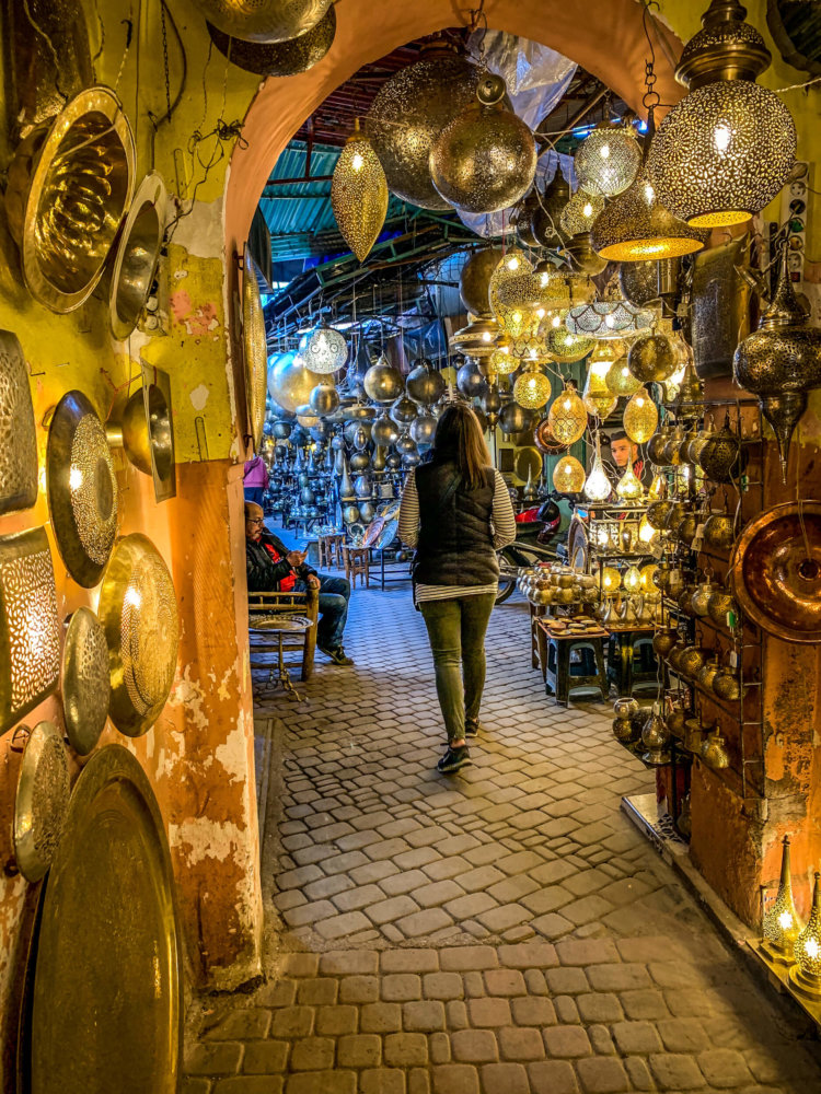 lamp shopping in the souks Marrakesh