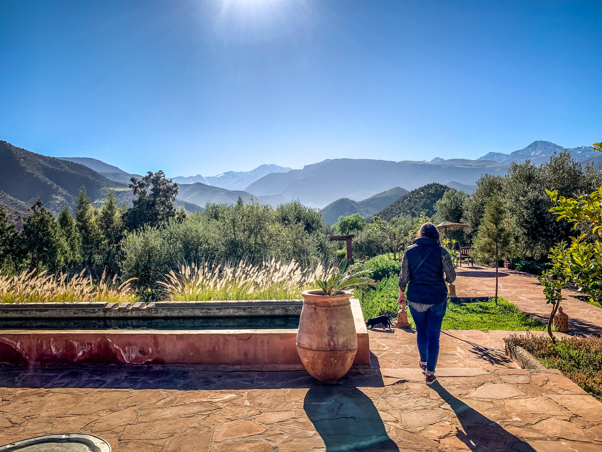 Walking the gardens of Kasbah Bab Ourika
