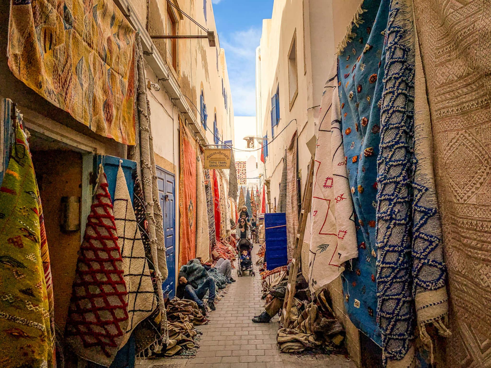 Essaouira rug souk street