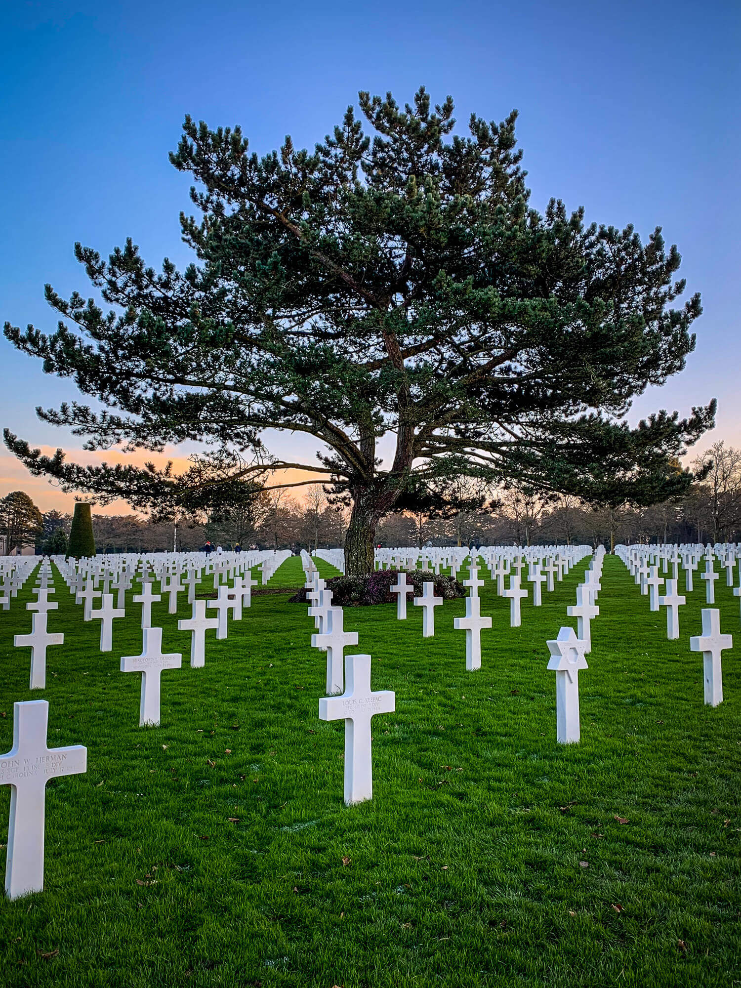 American Cemetery Normandy at dusk