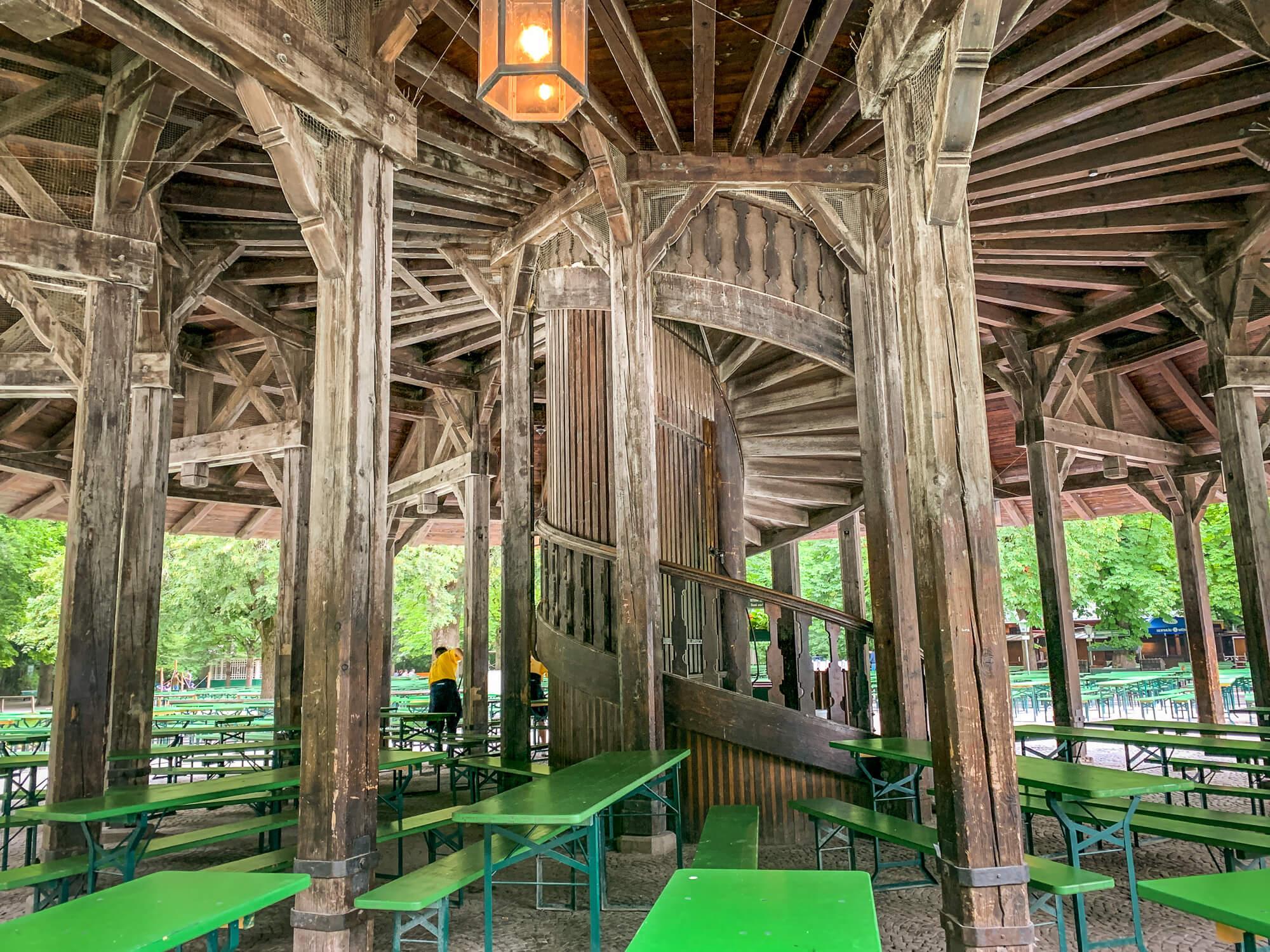 Englischer Garten beer garden tables