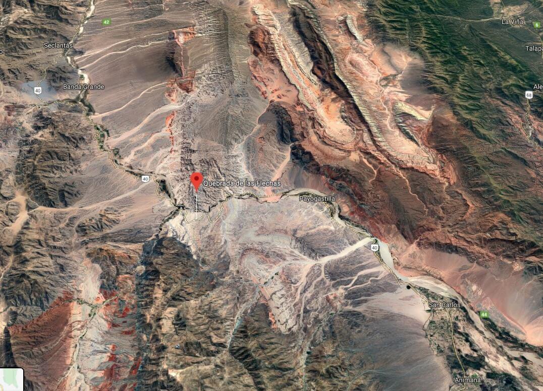 Location of Quebrada de los Flechas