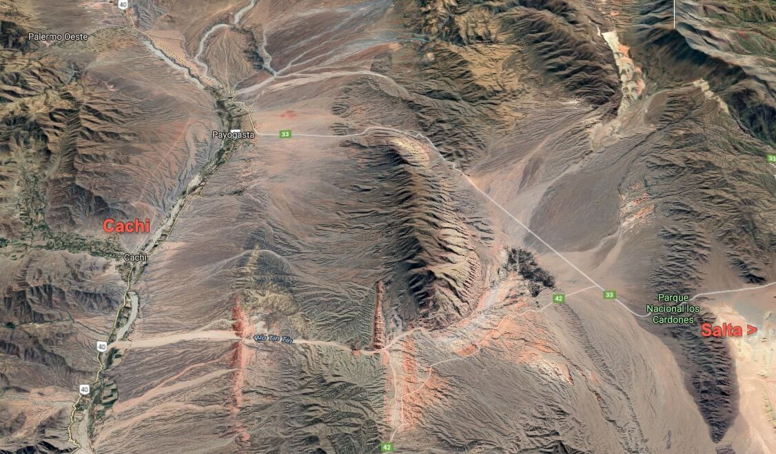 Altiplano aerial view around Cachi