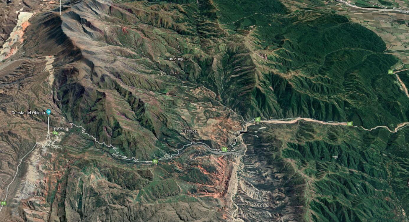 route of driving through Cuesto del Obispo