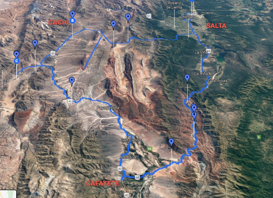Map of road trip through Salta province