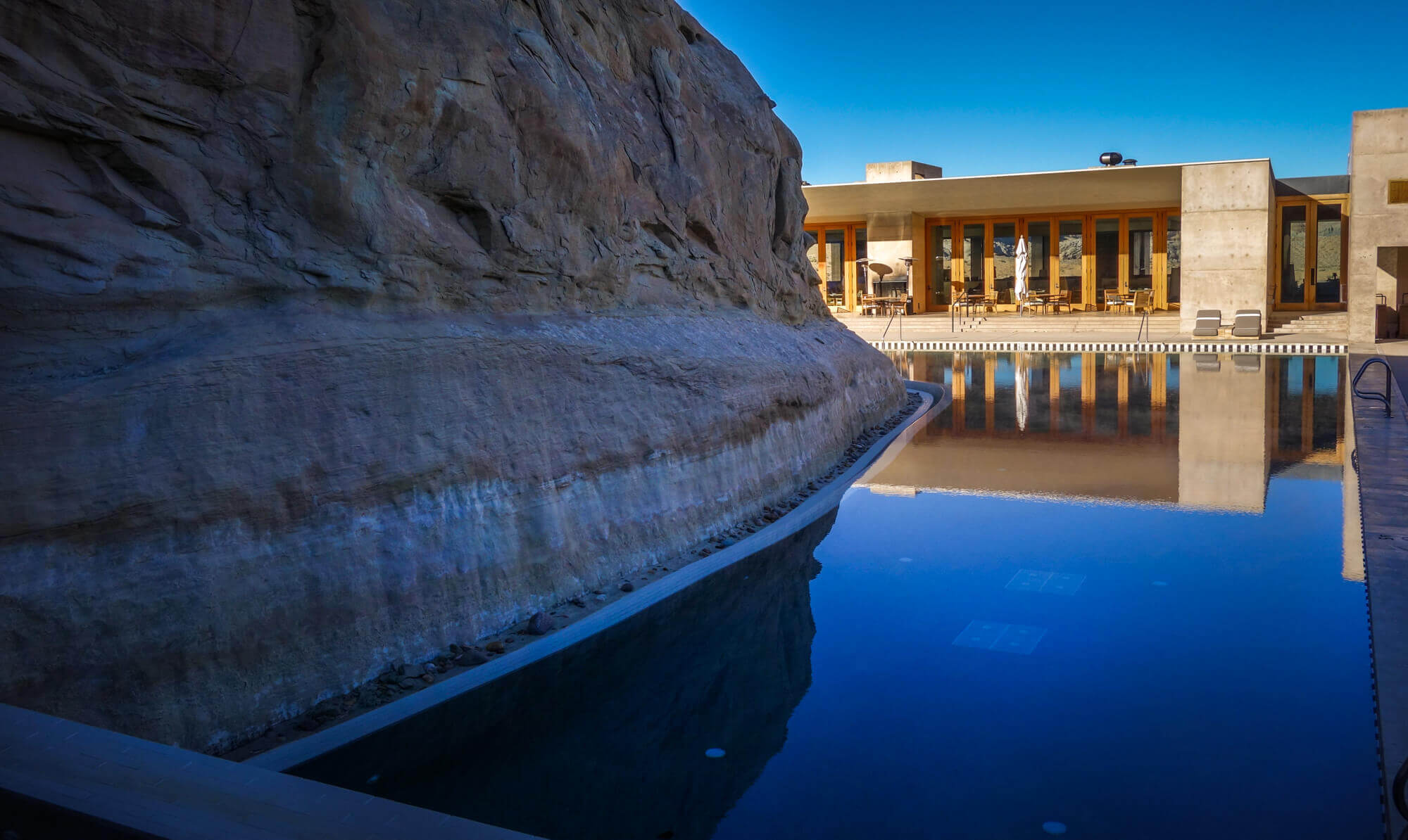 Amangiri pool at sunset