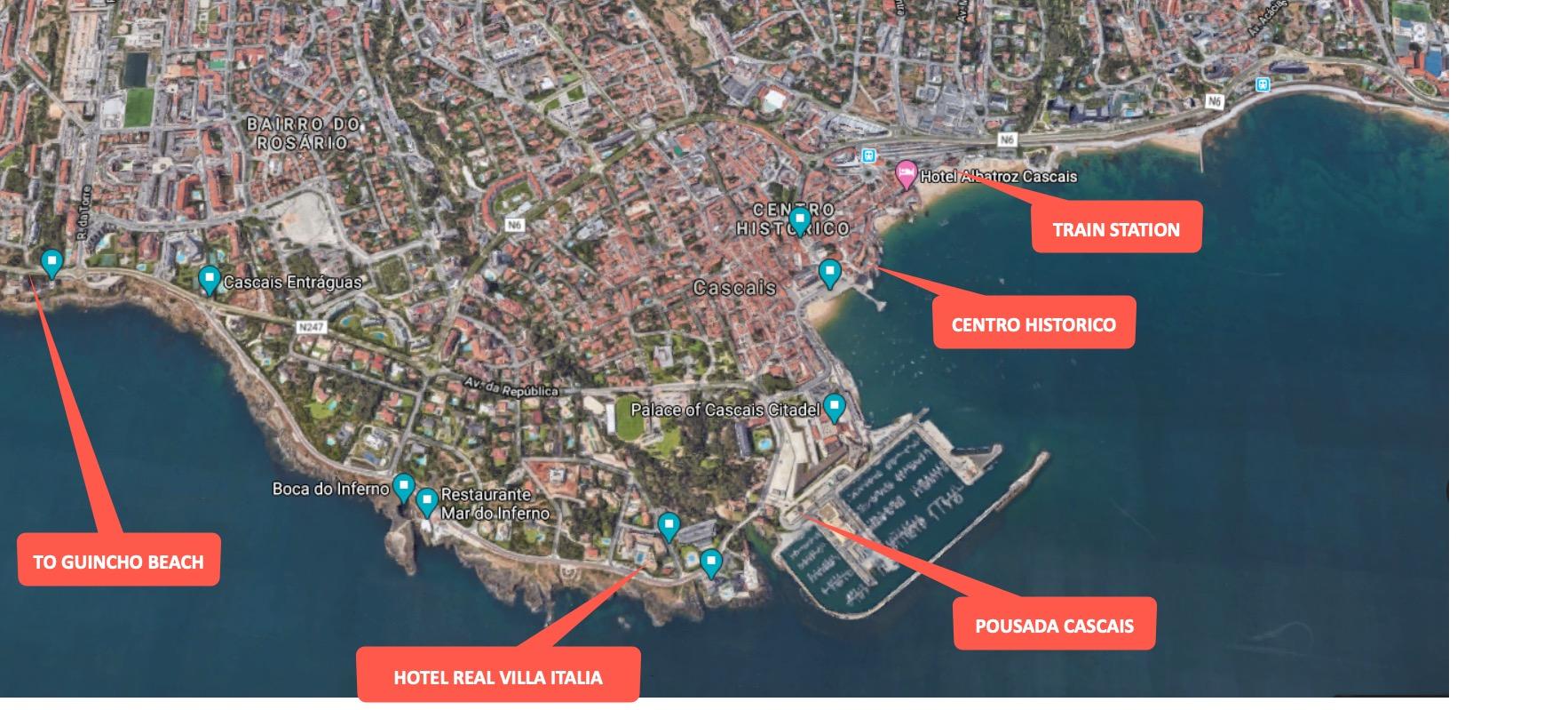 Cascais city map aerial