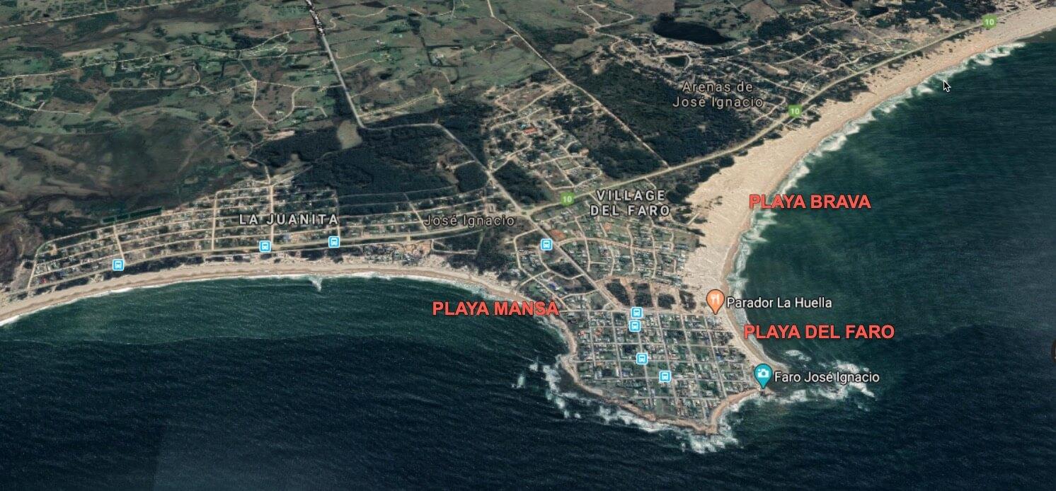 Playas in Jose Ignacio map
