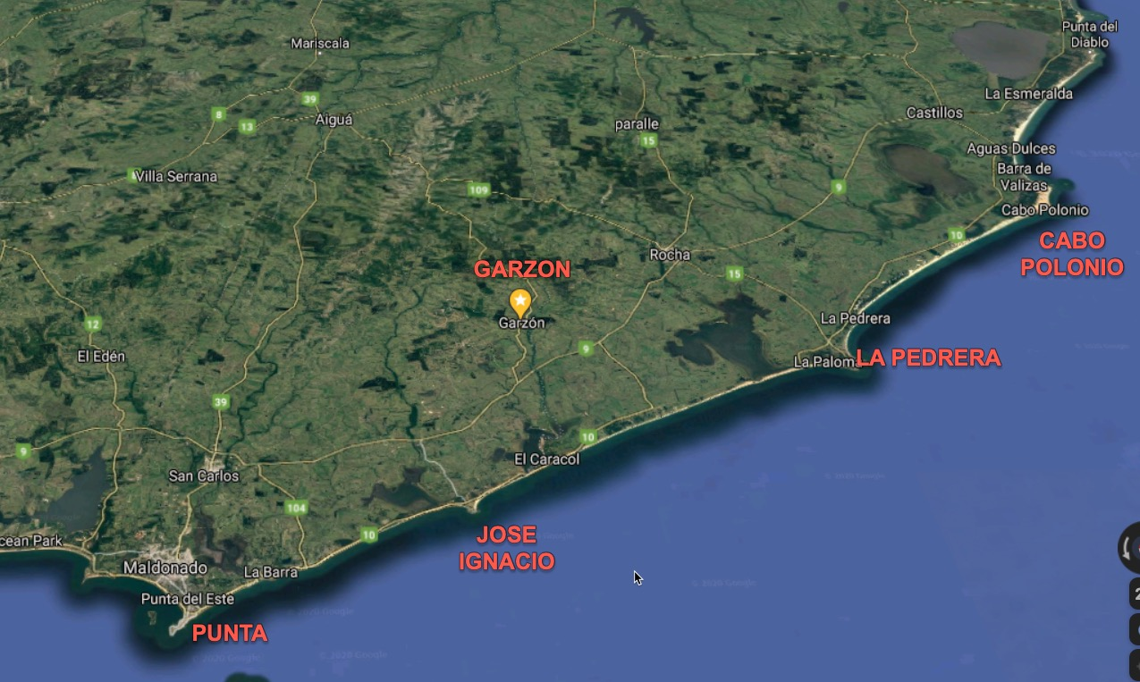 Map of Uruguay coast