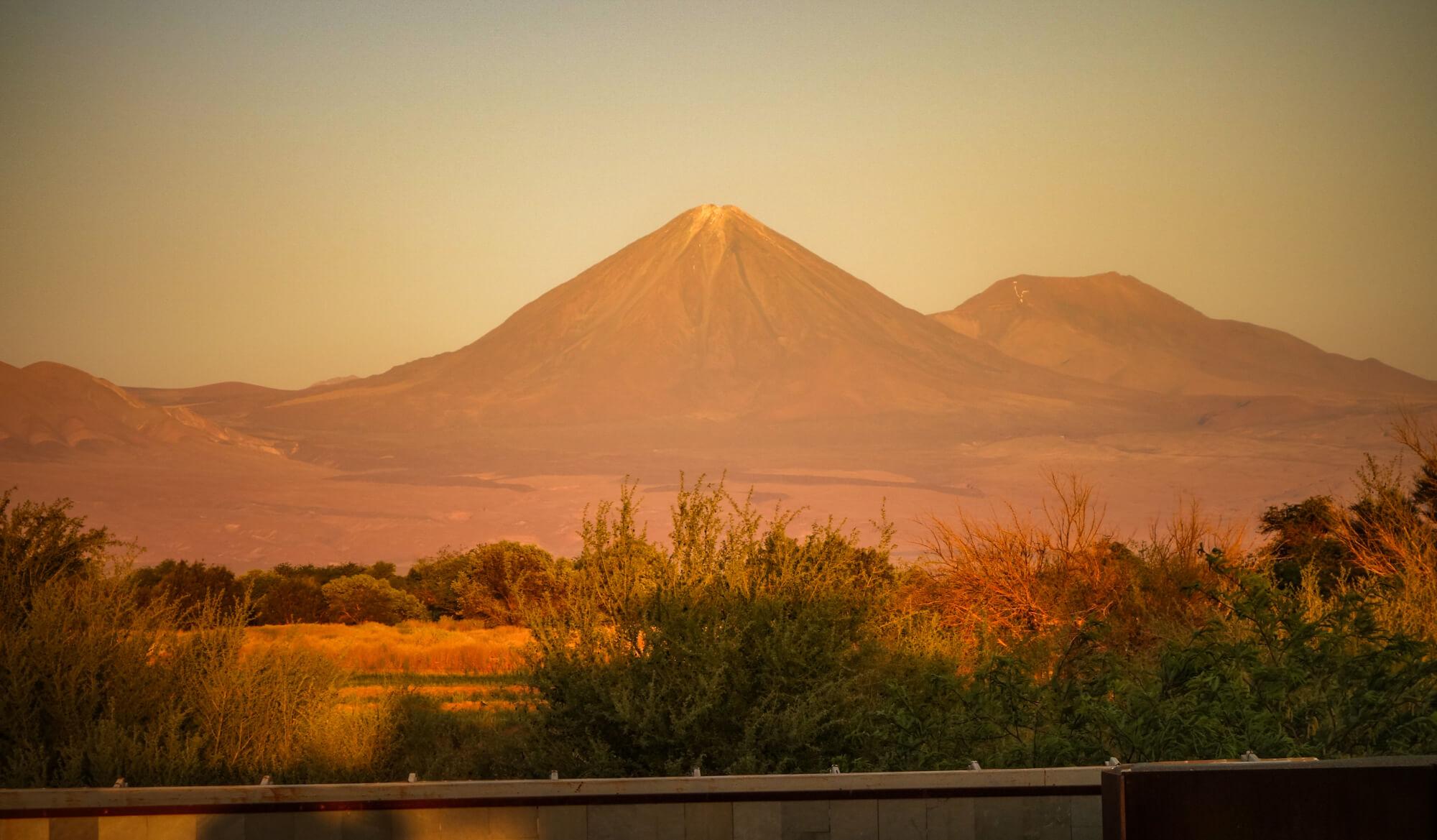 volcano view from room Tierra Atacama