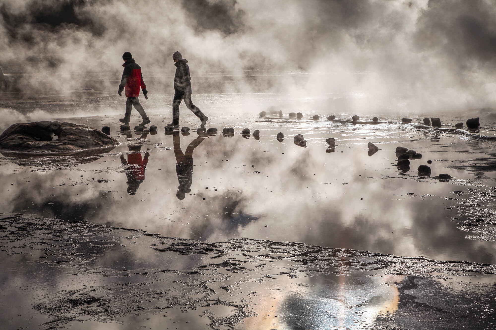 walking through El Tatio steam