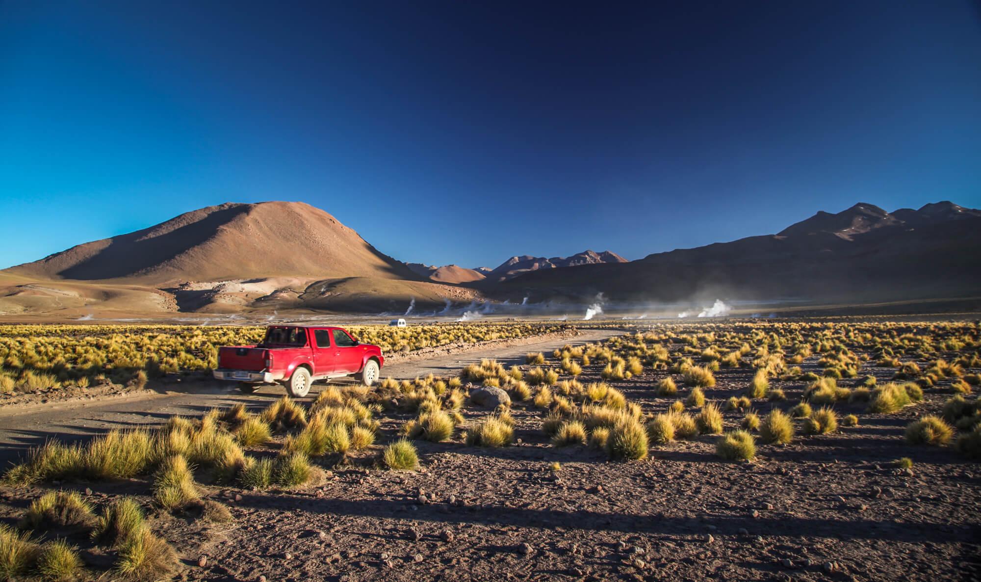 driving into El Tatio geysers