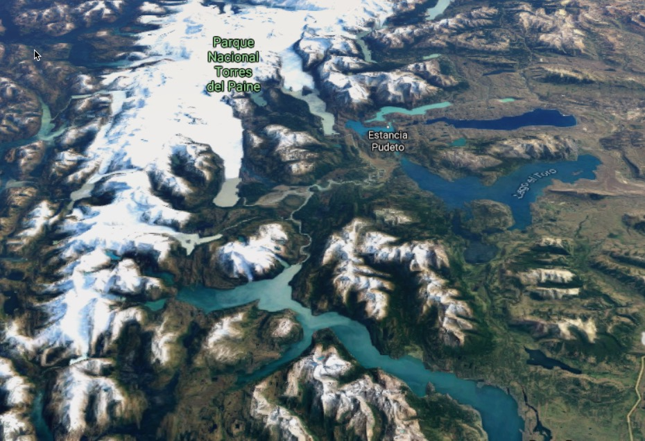 Satellite view of Torres del Paine national park