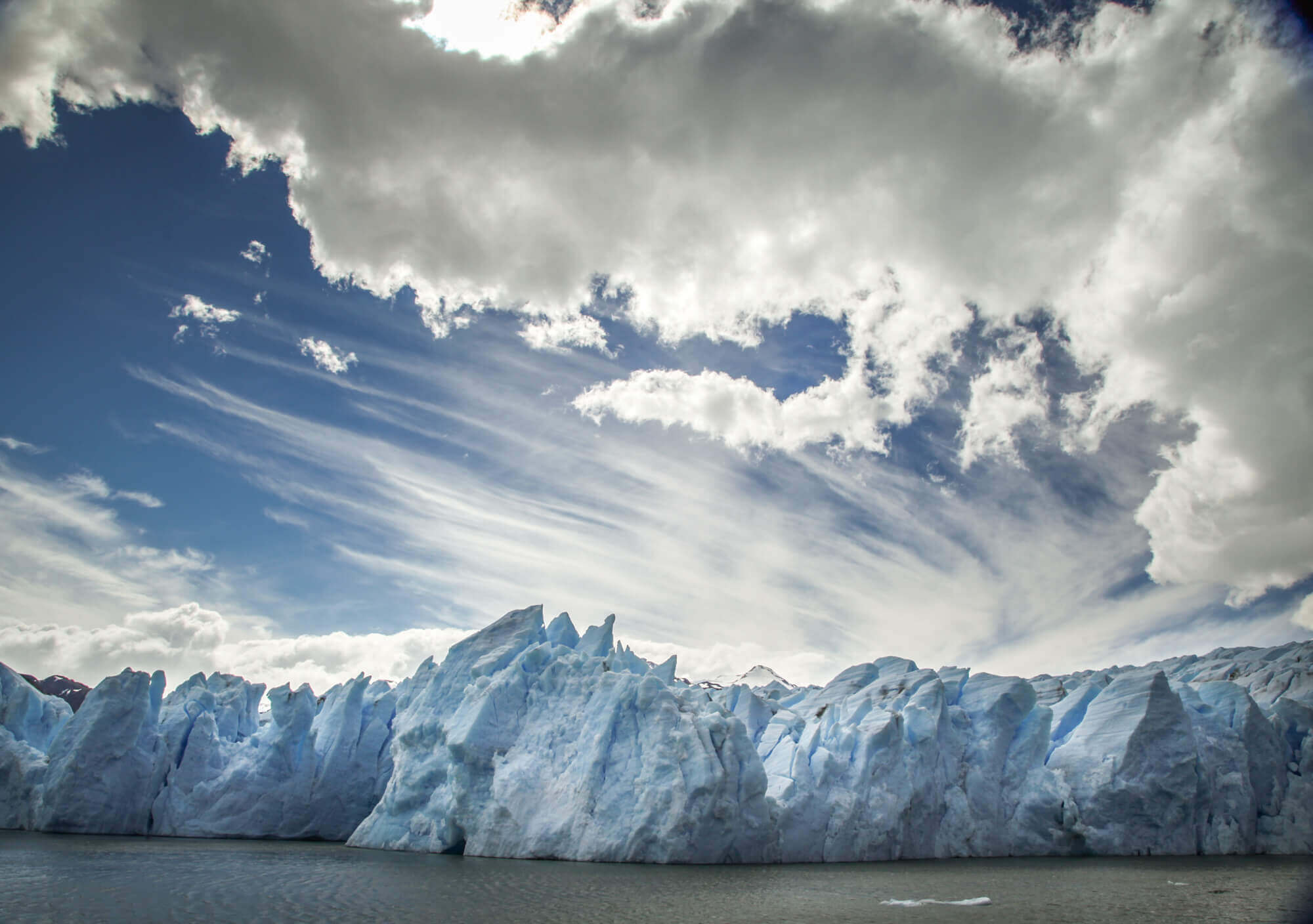 Grey Glacier with clouds Patagonia